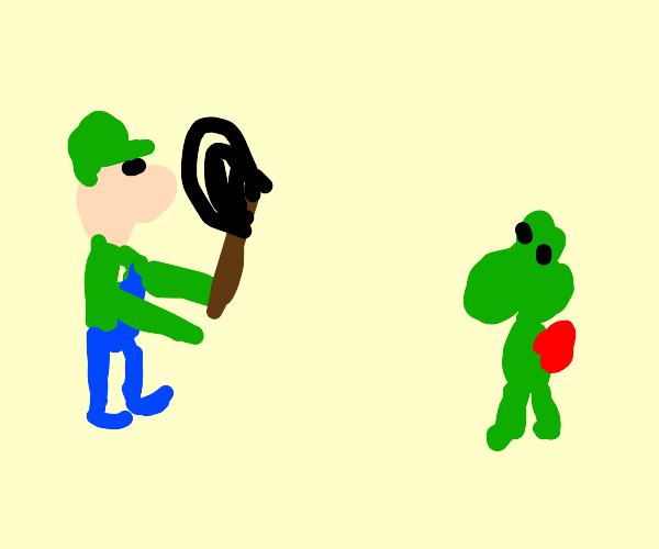 Luigi and his child L.J. catch yoshi(plural)