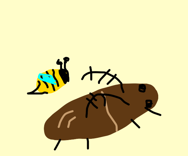 small bee flying with roach