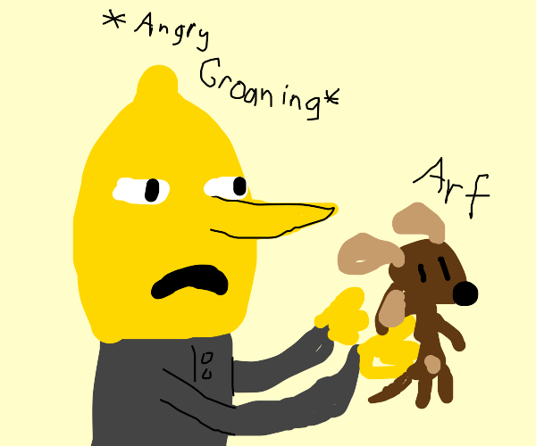 Lemon Angrily Holds Puppies