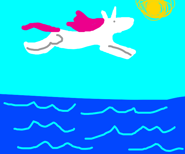 Unicorn jumping over the Ocean