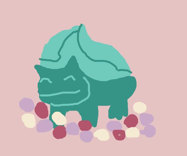 Happy Bulbasaur sitting on a flower field