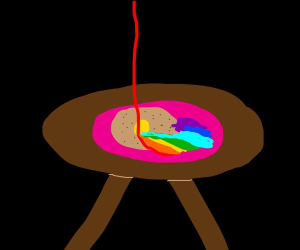 brown pancake with rainbow syrup