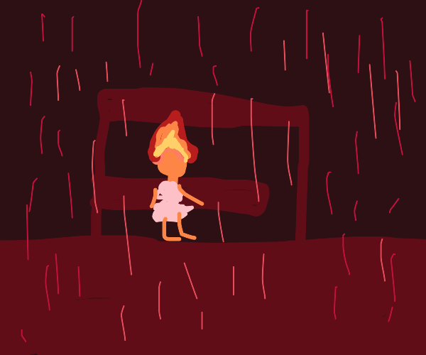 man with head on fire takes shelter from rain