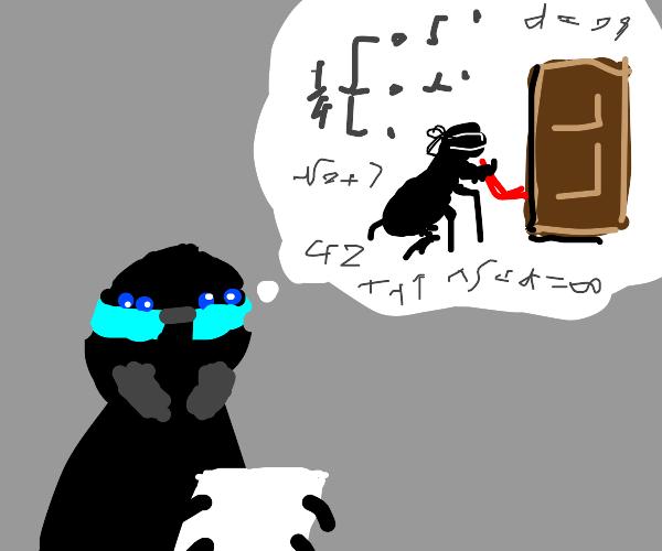 Nerdy spider calculating burglary