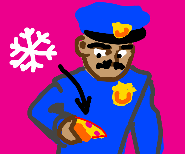 Police officer has cold pizza and a moustache