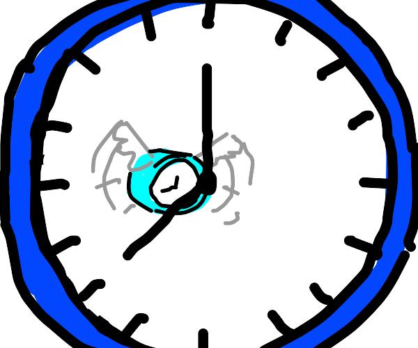 Smol clock flying inside a bigger clock
