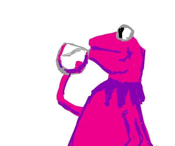 Pink kermit drinks water