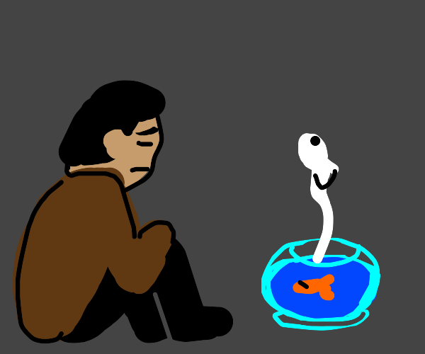 man mourning fish while it's ghost ascends