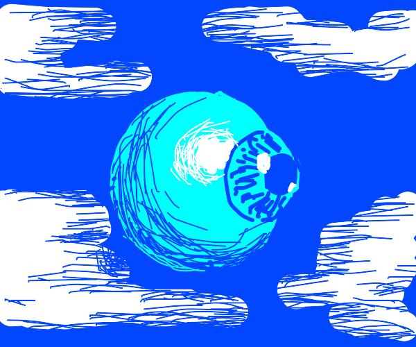 flying blue eyeball