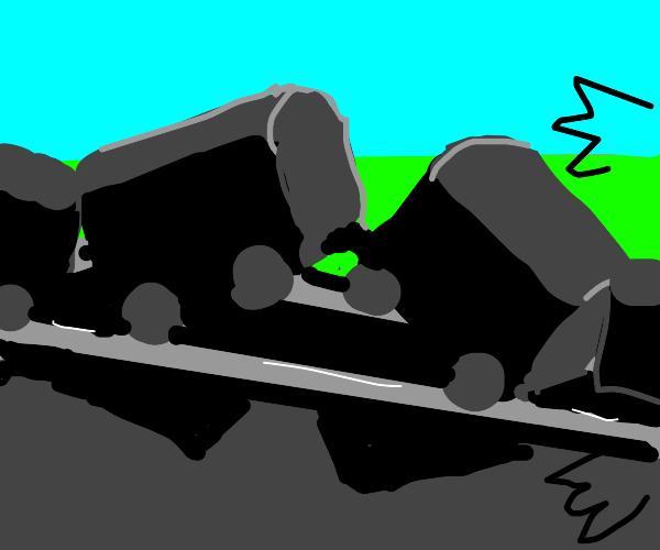 Train crash offscreen