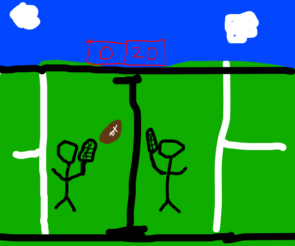 People playing tennis with a football