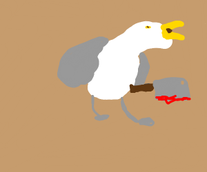seagull with a bloody butcher knife