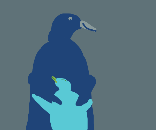 Penguin mama and child cuddling