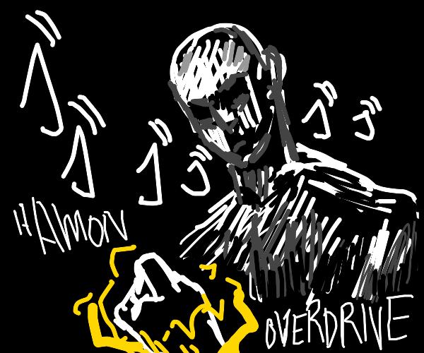 Bald man uses hamon