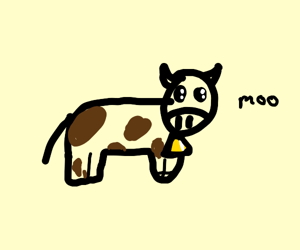 cow with brown spots wearing cowbell
