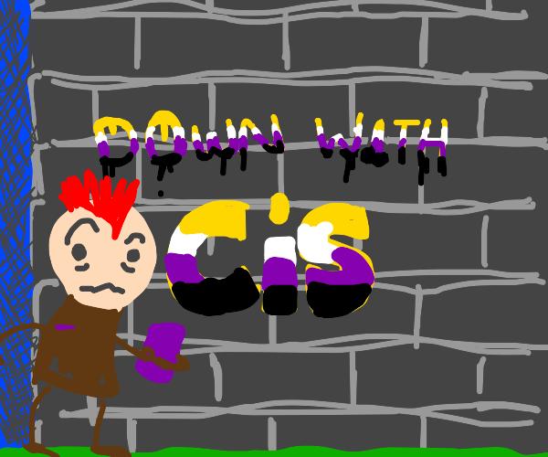 purple mohawk nonbinary does graffiti
