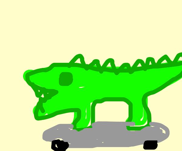 Crocodile on skateboard