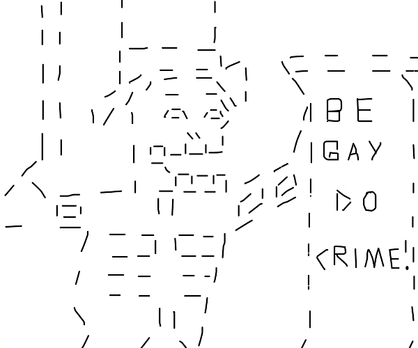 "ASCII skeleton say ""be gay do crimes"""