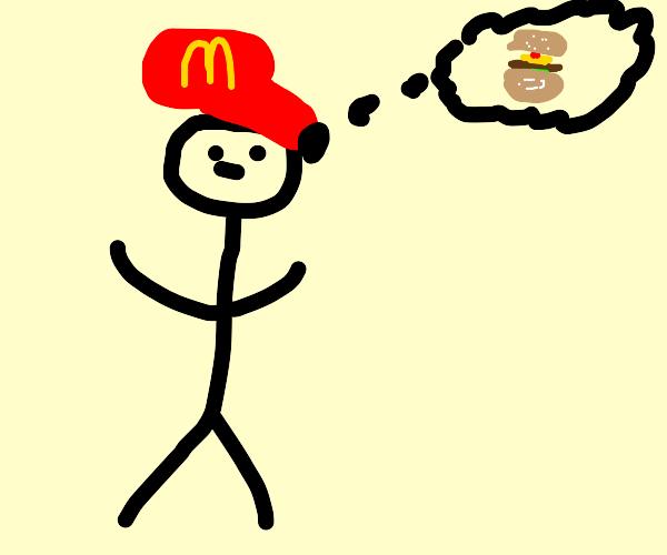 Mcdonalds worker thinkin about burger