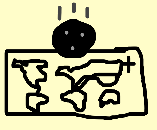 Bowlingball falls on map of the world