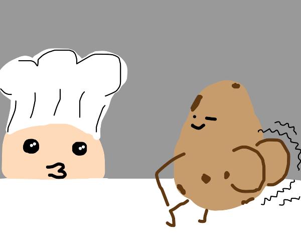 Chef looking at twerking potato