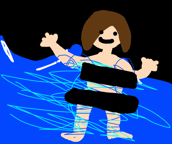 Naked woman in the water is censored