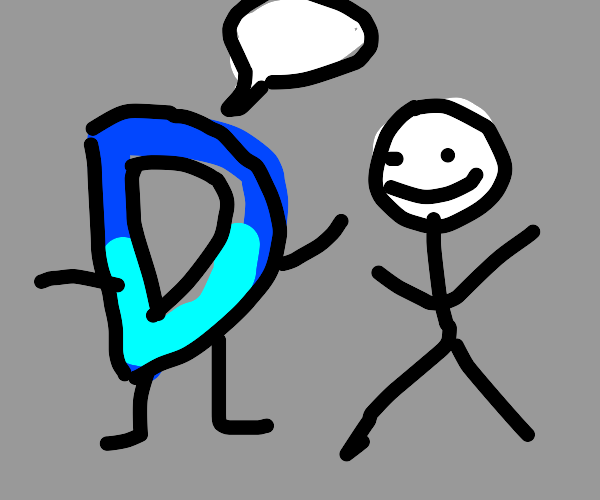 Drawception talking to a stick figure