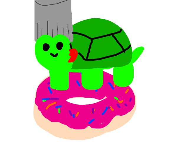 turtnareff (turtle polnareff) on a donut