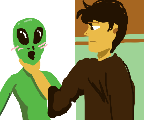 Guy casually chokes alien that doesn't mind