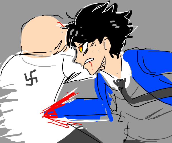 Edgy anime boy punches a nazi