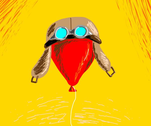 Balloon wearing an old aviator helmet