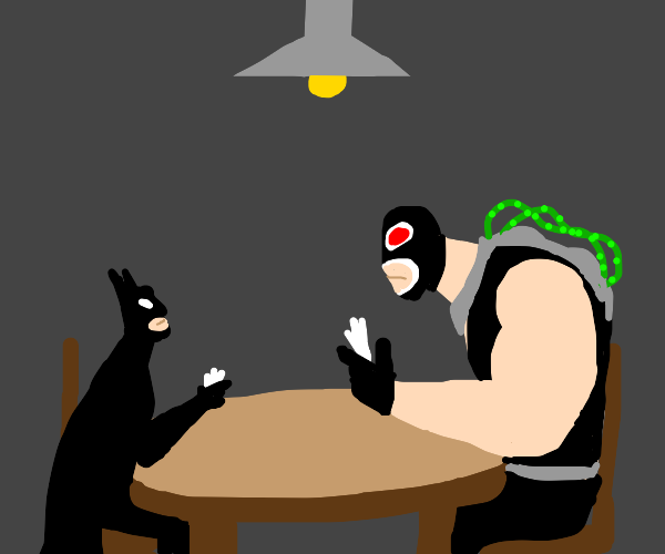 batman playing cards with a mexican man