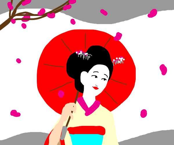 Japan flag with geisha and cherry blossoms