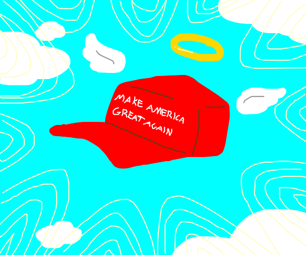 Jesus descending from heaven has a MAGA hat