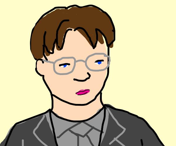 Dwight likes lipstick. Hot pink btw