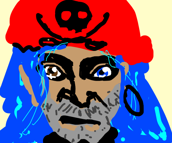 pirate w blue hair and heterochromia