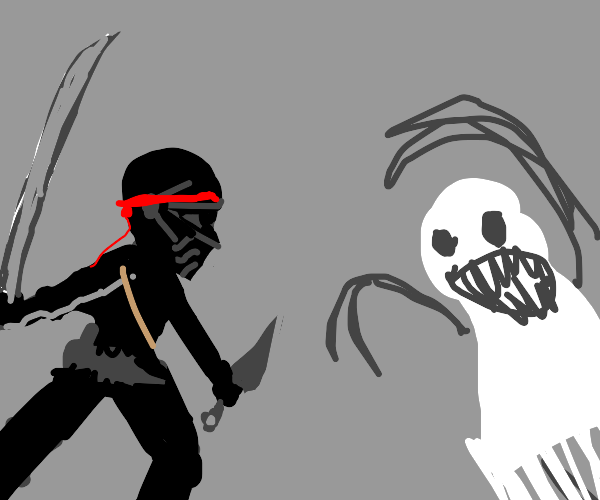 Ninja fights ghost