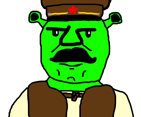 Stalin Shrek with a hat