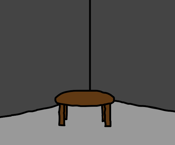 table in an empty room