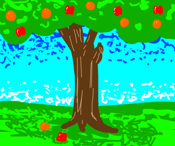 A tree with both oranges and apples