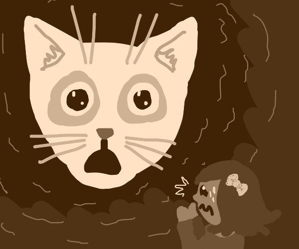 giant cat head scares girl