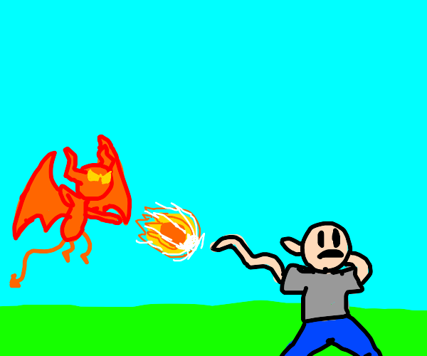 Demon shooting a fireball at somebody