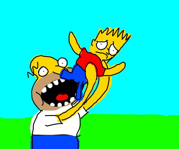 Homer eats Bart