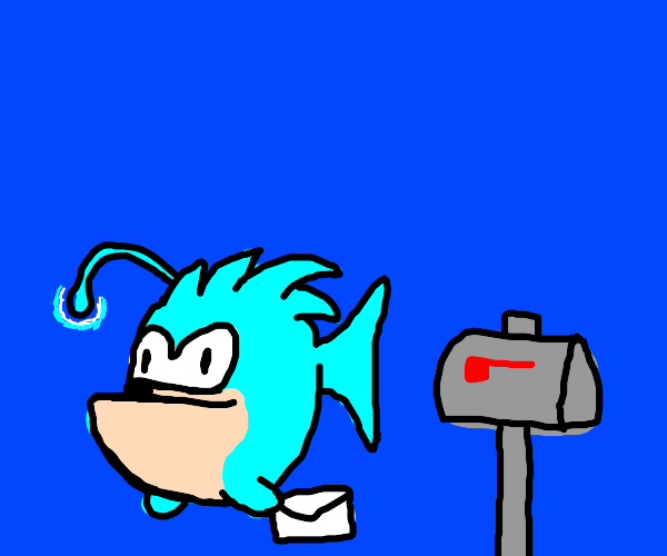 Sonic anglerfish retrieves his mail