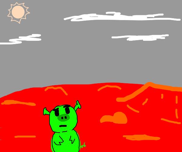 alien pig on mars, confused