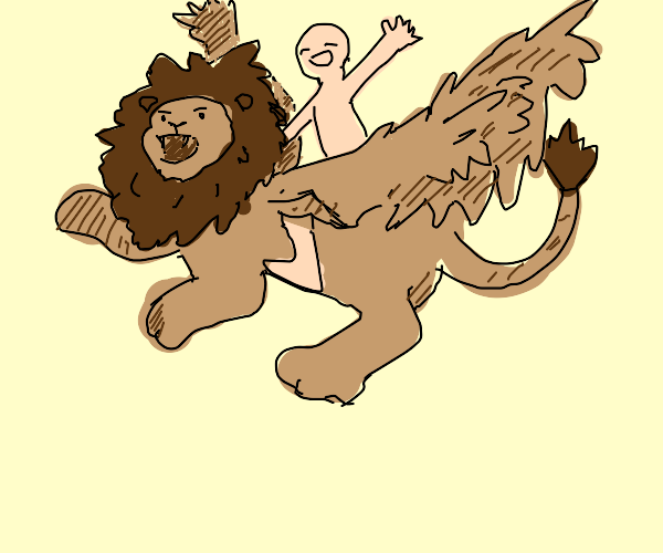 Naked happy person ride on angry flying lion