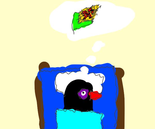 pigeon wakes up from vampire corn nightmare
