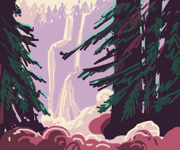 Waterfall hidden deep in the forest