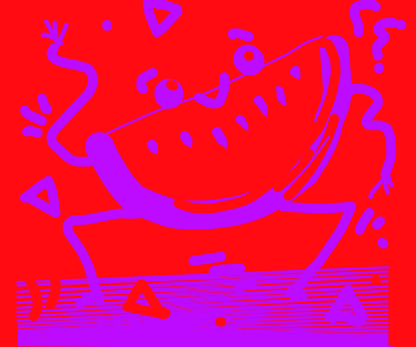Neon watermelon dancing