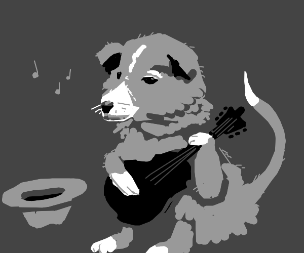 Dog playing a guitar